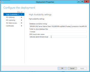Edit Deployment Properties RDS 2012 Connection Broker